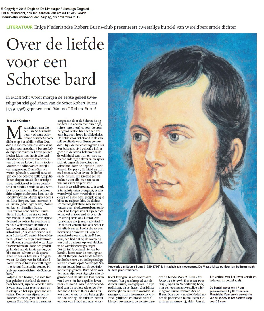 Artikel Robert Burns met portret